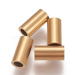 Vacuum Plating 304 Stainless Steel Tube Beads, Golden, 6x3mm, Hole: 2mm(X-STAS-L216-23E-G)