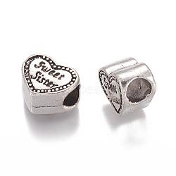 Coeur avec douce sœur alliage de style tibétain grand trou perles européennes supports d'émail, sans plomb et sans nickel, argent antique, 9x12x7mm, Trou: 5mm(X-TIBEB-7100-AS-FF)