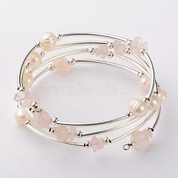 Bracelets enroulés avec puces de pierre gemme, l'argent et le platine, quartz rose, 53mm(BJEW-JB01518-02)