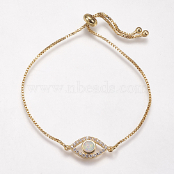 bracelets bolo réglables en laiton, bracelets de slider, avec opale synthétique et zircone cubique, oeil, or, blanc, 8-3 / 4 (222 mm), 1 mm; lien: 20x9x3 mm(BJEW-G593-11G-B)
