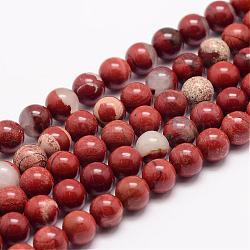 """Chapelets de perles en jaspe rouge naturel, rond, 6mm, trou: 1mm; environ 63 pcs/chapelet, 15.5""""(G-K153-B19-6mm)"""