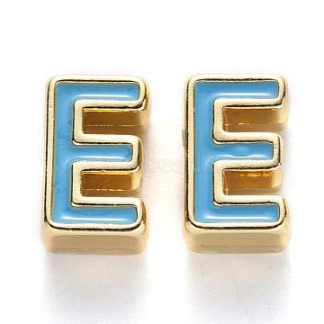 Rack Plating Alloy Enamel Beads, Cadmium Free & Nickel Free & Lead Free, Light Gold, Sky Blue, Letter.E, E: 10x6x4.5mm, Hole: 1.6mm(X-ENAM-S122-033E-NR)