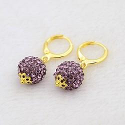 Pendantes rondes résine de balle boucles d'oreilles strass, avec boucles d'oreilles créoles en laiton doré, améthyste claire, 30mm, pin: 1 mm(EJEW-J080-10G)