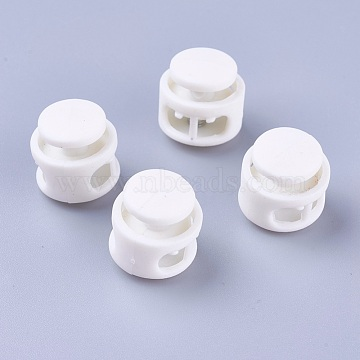 Plastic Spring Cord Locks, with Iron Findings, Platinum, White, 17x17x16mm, Hole: 4x6.5mm(FIND-WH0039-01K)