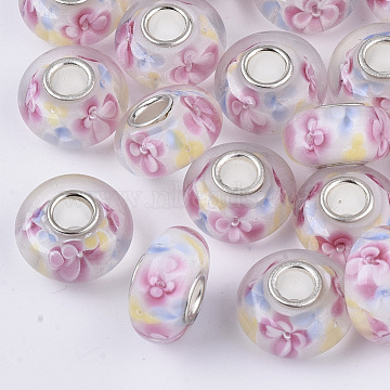 Handmade Lampwork European Beads, Inner Flower, Large Hole Beads, with Platinum Color Brass Single Cores, Rondelle, Colorful, 14x7.5mm, Hole: 4mm(LAMP-S193-004F)