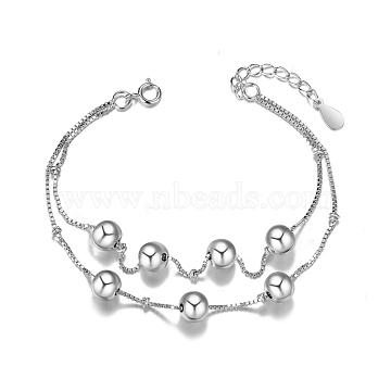 SHEGRACE 925 Sterling Silver Double Layered Bracelet, with Beads, Multi-strand Bracelets, Platinum, 160mm(6-1/4inches)(JB329A)