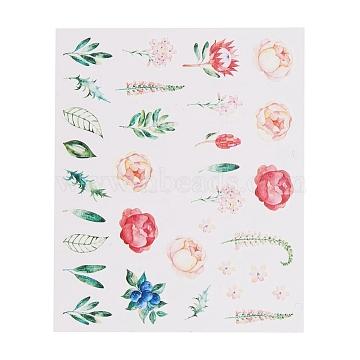 Nail Art Stickers, Self-adhesive, For Nail Tips Decorations, Plants Theme, Colorful, 6.3x5.2cm(MRMJ-Q042-B11)