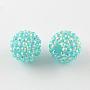 Cyan Round Resin+Rhinestone Beads(RESI-S315-14x16-14)