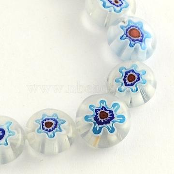 Handmade Millefiori Glass Bead Strands, Flat Round, Royal Blue, 10x4mm, Hole: 1.5mm, about 40pcs/strand, 14.9 inches(X-LK-R006-15J)