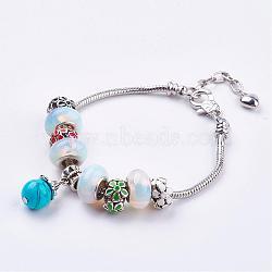 """Pierres précieuses perlées bracelets européens, avec des bracelets de style européen en laiton et des perles émail en alliage, 7-7/8"""" (200mm) x 3MM(BJEW-JB03156-02)"""