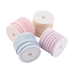 Faux Suede Cord, Faux Suede Lace, Mixed Color, 5x1.5mm; about 5m/roll, 4rolls/set(LW-JP0003-5mm-01)