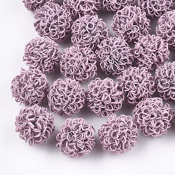 Spray Painted Environmental Iron Wire Beads, Round, Flamingo, 16~17mm(IFIN-T009-09E)