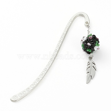 Tibetan Style Alloy Bookmarks, with 201 Stainless Steel Pendants and Handmade Bumpy Lampwork Beads, for DIY Bookmark Making , Black, 84mm(AJEW-JK00166-04)