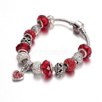 Alloy Rhinestone Bead European Bracelets, with Glass Beads and Brass Chain, Red, 190mm(BJEW-L602-12C)