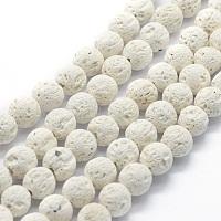 brins de perles rondes en pierre de lave naturelle, arrondir, blanc, 8 mm, trou: 1 mm; environ 49 perle / brin, 15.15 pouces (38.5 cm)