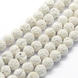 """Chapelets de perles rondes en lave naturelle, rond, blanc, 8mm, trou: 1mm; environ 49 pcs/chapelet, 15.15"""" (38.5 cm)(X-G-E508-04-8mm)"""