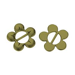 Boucles en alliage de style tibétain, fleur, Sans cadmium & sans nickel & sans plomb, bronze antique, 16x16x2mm, Trou: 7x3mm(X-TIBE-Q064-51AB-NR)