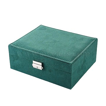 Velvet & Wood Jewelry Boxes, Portable Jewelry Storage Case, with Alloy Lock, for Ring Earrings Necklace, Rectangle, Sea Green, 23.1x18.7x9.1cm(VBOX-I001-02C)