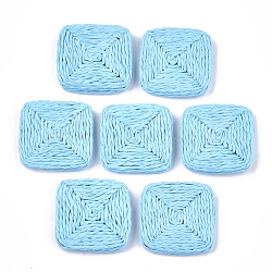 Handmade Woven Beads, Paper Imitation Raffia Covered with Wood, No Hole/Undrilled, Square, Cyan, 32~34x32~34x4~5mm(X-WOVE-T006-135C)