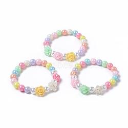bracelets extensibles en perles acryliques pour enfants, avec imitation plastique ronde perle et fleur imitation plastique ab couleur acrylique opaque, couleur mélangée, 1-5 / 8 (4 cm)(BJEW-JB04837-M)
