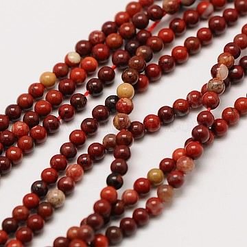Natural Red Rainbow Jasper Round Beads Strands, 2mm, Hole: 0.5mm, about 184pcs/strand, 16 inches(X-G-A130-2mm-25)