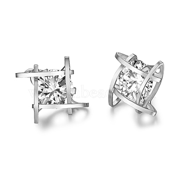 Brass Micro Pave AAA Cubic Zirconia Stud Earring, Cadmium Free & Lead Free & Nickel Free, Square, Clear, Platinum, 12x12mm(EJEW-EE0004-01P)