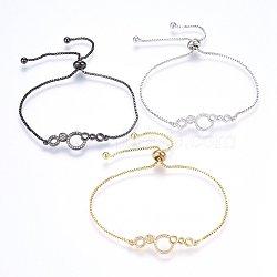 """Bracelets bolo extensibles en laiton avec zircon cubique de micro pavé, Bracelets coulissants, anneau, clair, couleur mixte, 10-5/8"""" (27cm); 1.2mm(BJEW-H583-30)"""