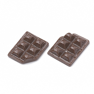 Resin Cabochons, Chocolate, Imitation Food, Coconut Brown, 16~17x13x4mm(X-CRES-N015-11A)