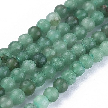 Natural Green Aventurine Beads Strands, Round, 6~6.5mm, Hole: 1mm; about 63pcs/strand, 15.5 inches(X-G-Q462-6mm-20A)