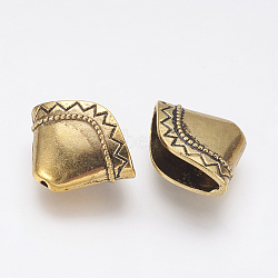 Tibetan Style Alloy Bead Cone, Apetalous, Antique Golden, 17x23x8mm, Hole: 1.5mm, Inner Diameter: 5x21mm(PALLOY-J707-06AG)