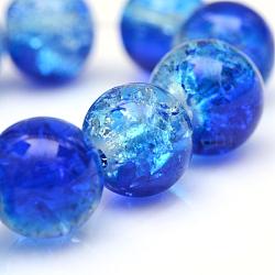 """Cuisson peints en verre craquelé brins de perles, rond, bleu, 6 mm; trou: 1.3~1.6 mm; environ 133 pcs / brin, 31.4""""(X-CCG-S001-6mm-16)"""