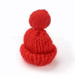 Décoration de chapeau en laine tressé manuel, diy artisanat décoration, Avec pom pom ball, rouge, 33~38x45~50mm(AJEW-L066-B03)