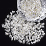 6/0 Glass Bugle Beads, Silver Lined, Silver, 3.5~5x3.5~4mm, Hole: 1mm; about 4500pcs/bag