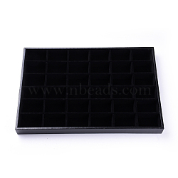 Wooden Earring Displays, Covered with Velvet, Rectangle, Black, 35x24x3cm(X-ODIS-F003-01)