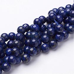 Dyed Grade A Natural Lapis Lazuli Beads Strands, Round, about 8mm in diameter, hole: 1mm; about 48pcs/strand, 15.5