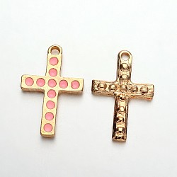 Pendentifs croix en émail plaqué or clair, rose, 27x18x2mm, Trou: 2mm(ENAM-J544-01KCG)