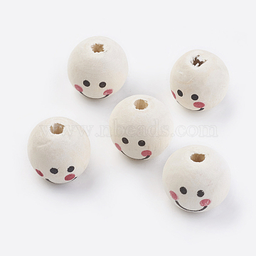 Natural Wood Printed European Beads, Round, Floral White, 18x16mm, Hole: 4mm; about 390pcs/500g(WOOD-Q030-25)