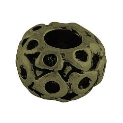 Perles européennes de strass de grand trou en alliage de style tibétain, rondelle, sans plomb et sans nickel, bronze antique, s'adapter pour 2 mm strass; 8x11.5 mm, Trou: 4.5mm(X-TIBEB-7827-AB-NR)