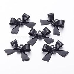 Breloques en laiton peint de pulvérisation, bowknot, noir, 10.5x15mm, Trou: 1mm(X-KK-H736-16)