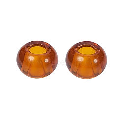 Perles européennes en verre, Perles avec un grand trou   , rondelle, chocolat, 15x10mm, Trou: 5mm(X-GDA006-006)
