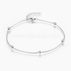 304 Stainless Steel Anklets, with Lobster Claw Clasps, Round Beads and Cable Chains, Stainless Steel Color, 9 inches(230mm), 1.8mm(X-AJEW-H013-02P)