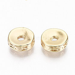 Brass Corrugated Beads, Nickel Free, Flat Round, Real 18K Gold Plated, 8x2.5mm, Hole: 1.8mm(X-KK-N231-198-NF)