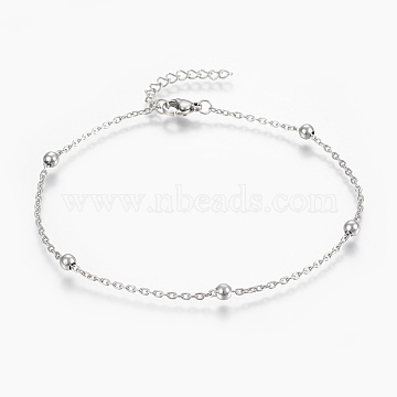 304 Stainless Steel Anklets, with Lobster Claw Clasps, Round Beads and Cable Chains, Stainless Steel Color, 9 inches(230mm); 1.8mm(X-AJEW-H013-02P)