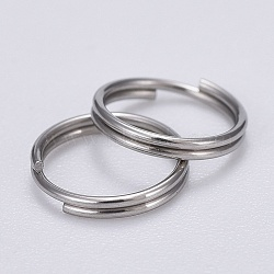 304 Stainless Steel Split Rings, Stainless Steel Color, 8x0.6mm; about 7.4mm inner diameter; about 200pcs/bag(STAS-N015-11-8x0.6mm)