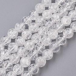 """Природный кристалл бусина треск нитей, круглые, 6.5~7 мм, Отверстие : 0.5 мм; около 59 шт / нитка, 14.9"""" (380 мм)(G-G945-13-6mm)"""