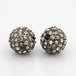 Gris anthracite teneur en alliage de ton strass grade A perles, rond, cristal, 12mm, Trou: 2mm(RB-J298-12mm-01B)