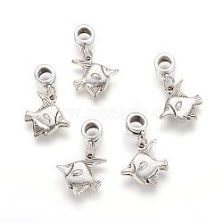 Perles européennes de pendentif en alliage , poisson, argent antique, 29mm, Trou: 5mm(X-PALLOY-JF00001-27)