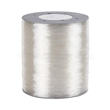 Korean Flat Elastic Crystal String, Elastic Beading Thread, for Stretch Bracelet Making, Clear, 0.8mm, about 1093.61 yards(1000m)/roll(EW-D005-A)