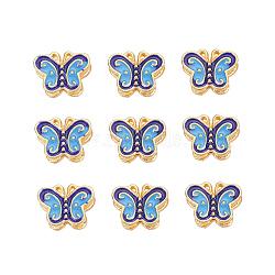 Perles en émail d'alliage de style chinois, papillon, or, colorées, 10.5x13.5x6mm, Trou: 1.4mm(X-ENAM-L015-12A-G)
