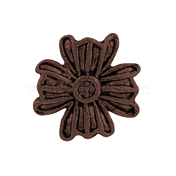 Boutons de fleurs en alliage de style tibétain, 1-trou, sans plomb et sans nickel, cuivre rouge, 14x14x5.5mm, Trou: 2mm(X-TIBE-2736-R-NR)